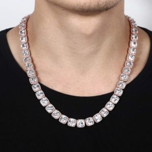 10mmIcy Tennis Chain 18K Rose Gold Plated Necklace